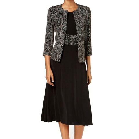 Jessica Howard Black Women's Size 6 Metallic Jacket A-Line Dress