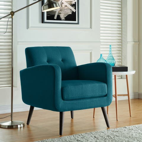 Keflavik Mid-century Peacock Blue Linen Arm Chair