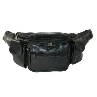 CTM® Leather with Smart Phone Large Waist Pack - Black