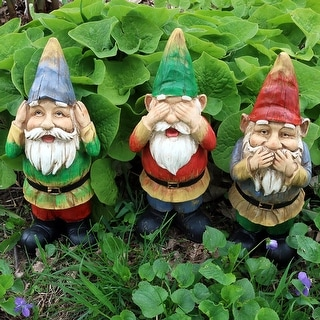 Sunnydaze Three Wise Gnomes - Hear No Evil Speak No Evil See No Evil - Set of 3 - Set of 3 Wise Gnomes