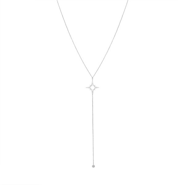 Amanda Rose Star and Cubic Zirconia Lariat Necklace in Sterling Silver - White