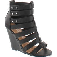 Wild Diva Women's Elisha19 Leatherette Gladiator Wedge Sandals