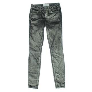 Rachel Rachel Roy Womens Icon Metallic Mid-Rise Skinny Jeans - 28