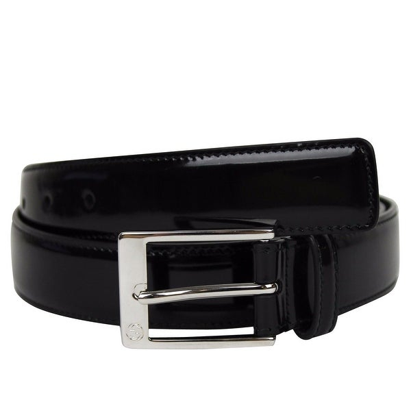6df10f8f6c3 Gucci Men  x27 s Square Black Patent Leather Belt with GG Detail Buckle  345658