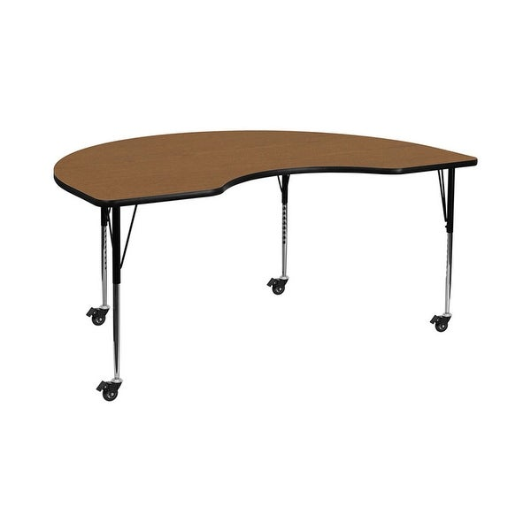"""Offex 48""""W x 96""""L Mobile Kidney Shaped Activity Table with Oak Thermal Fused Laminate Top and Standard Height Adjustable Legs"""