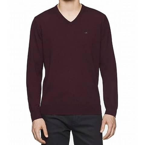 Calvin Klein Mens Solid Livigno Purple Size 2XL V-Neck Wool Sweater