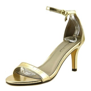Michael Antonio Ramos Women Open-Toe Leather Gold Slingback Heel