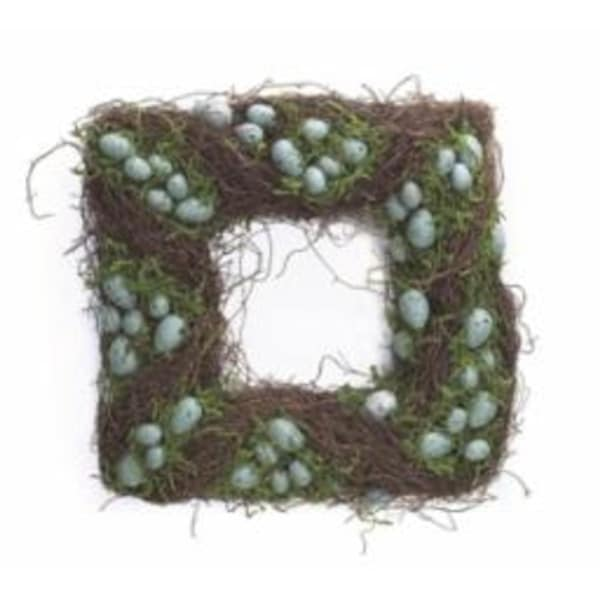 """Pack of 2 Square Easter and Springtime Speckled Teal Eggs with Moss Wreaths 15"""" - BLue"""