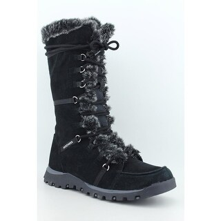 Skechers Grand Jams-Unlimited Women Round Toe Suede Black Snow Boot