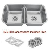 """Miseno MSS3218CLD 32-1/2"""" Undermount Double Basin Stainless Steel Kitchen Sink with 50/50 Low-Divide Split - Drain Assemblies"""