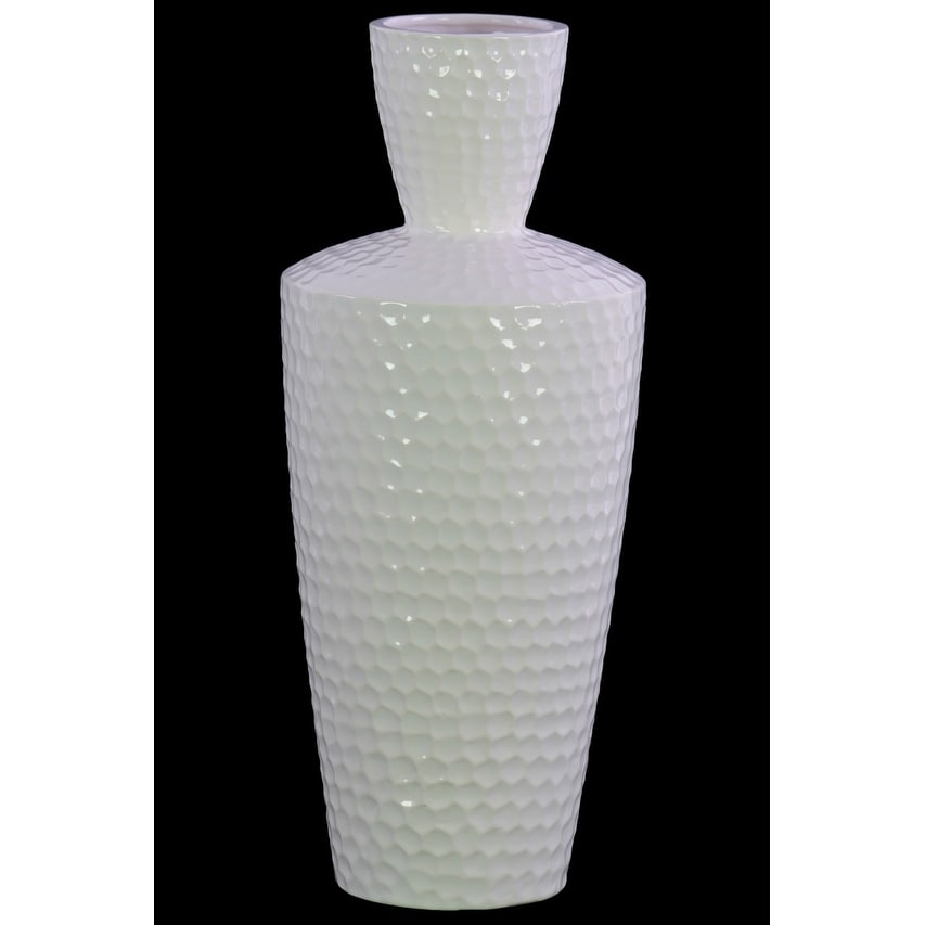Engraved Diamond Pattern Ceramic Vase With Trumpet Neck, Large, White