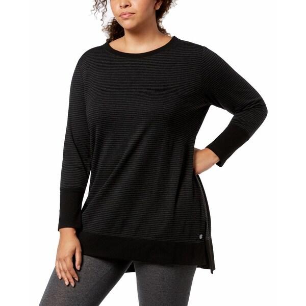 4ba2331bacf Ideology Black Women's Size 2X Plus Performance Striped Tunic Top