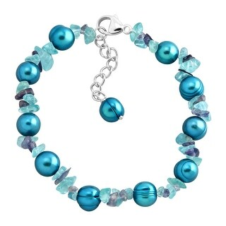 Honora Teal Freshwater Pearl Bracelet with Natural Iolite & Apatite Chips in Sterling Silver