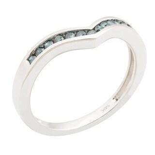 0.25 Carat Channel Set Blue Diamond Wishbone Anniversary Ring