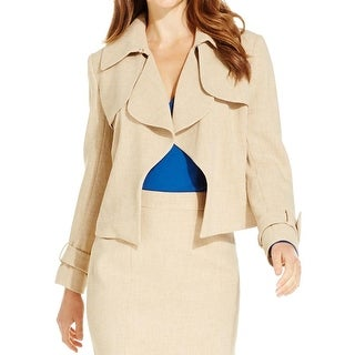 Anne Klein Womens Trench Coat Tweed Crop