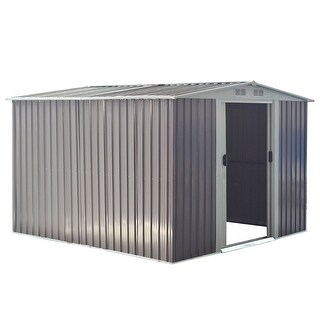 Costway 8.5x8.5FT Outdoor Garden Storage Shed Tool House Sliding Door Galvanized Steel Gray
