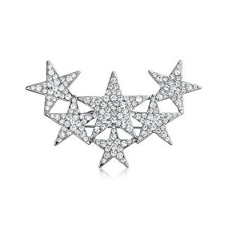 Bling Jewelry Crystal Celestial Stars Scarf Pin Brooch Rhodium Plated