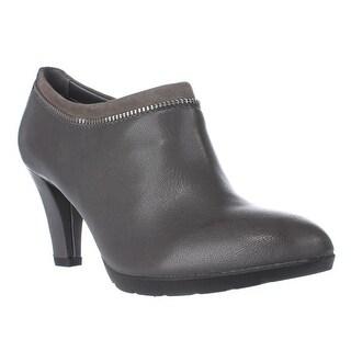 Anne Klein Dalayne Zipper Lined Ankle Booties, Dark Gray/Dark Gray