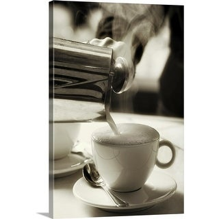 """""""The art of fresh coffee making,  adding steamed milk to make a cappuccino"""" Canvas Wall Art"""