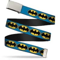 Blank Chrome  Buckle Bat Signal 3 Blue Black Yellow Webbing Web Belt