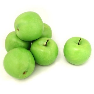 Decorative Realistic Artificial Fruits, Green Apple - Pack of 6