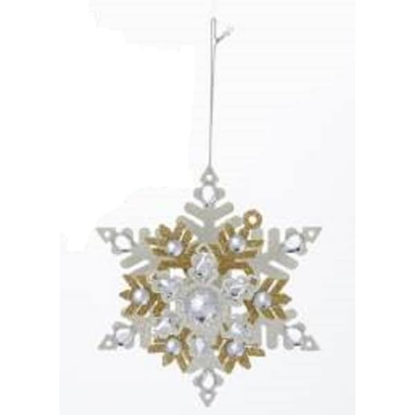 "5.5"" Metallic Gold and White Snowflake with Glitter and Gems Christmas Ornament"