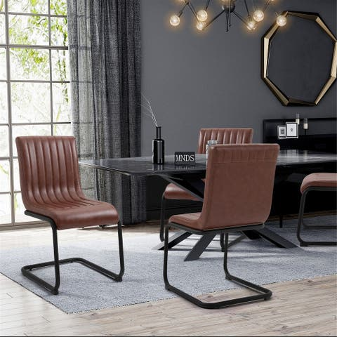 FurnitureR Camel Faux Leather Armless Office Visitor Chair Set of 2