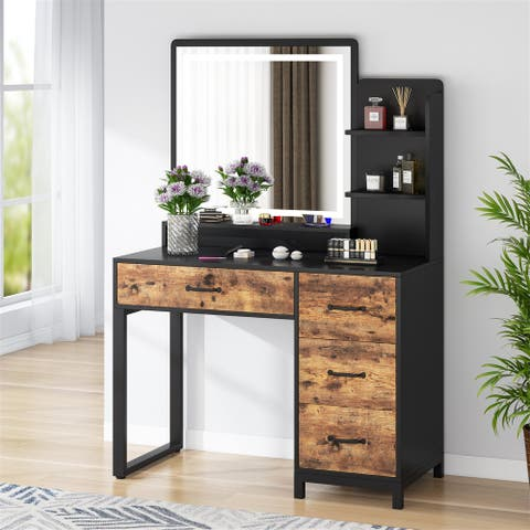 Make up Vanity Dressing Table with Lighted Mirror, Vanity Table with Drawers and Shelf