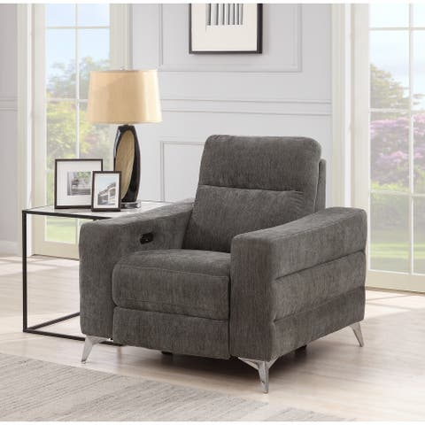 Grey Fabric-upholstered Reclining Chair with Angular Chrome Feet