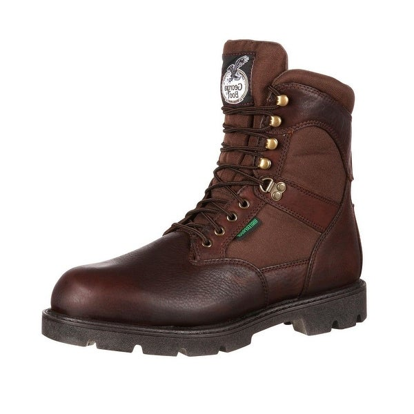 """Georgia Boot Work Mens 8"""" Homeland WP Insulated Leather Brown"""