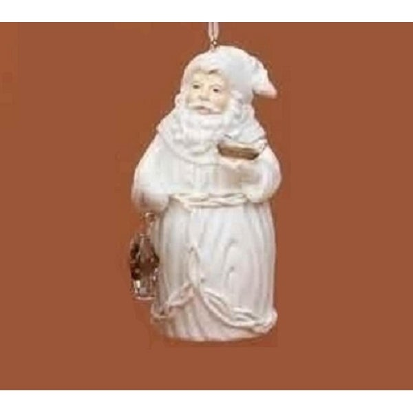 Winter's Beauty White Santa Claus Holding Birds Christmas Ornament