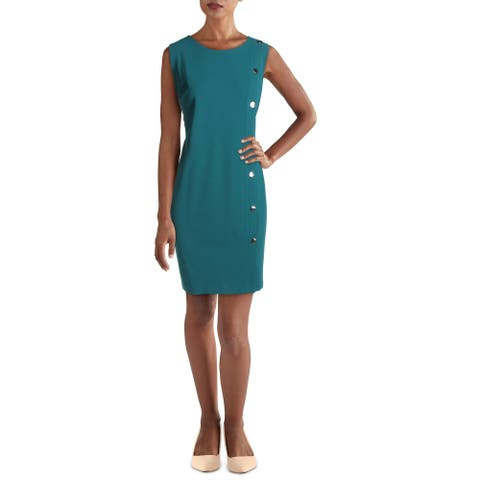 Tommy Hilfiger Womens Fore Scuba Wear to Work Dress Crepe Embellished - Green