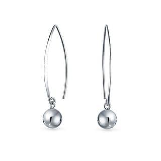 Bling Jewelry Sterling Silver Ear Wire Threader Ball Drop Earrings 10mm