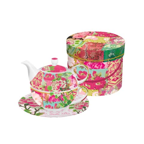 Shinto Garden Floral Bone China Tea for One Teapot, Cup and Saucer Set with Gift Box
