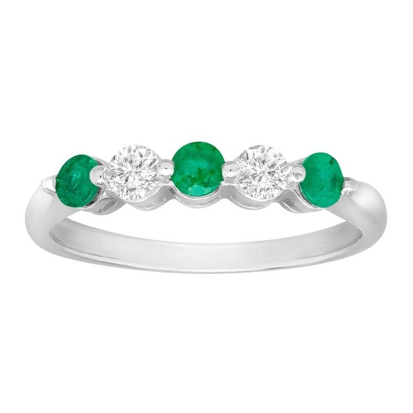 5/8 ct Emerald and White Sapphire Ring in 14K White Gold - Green