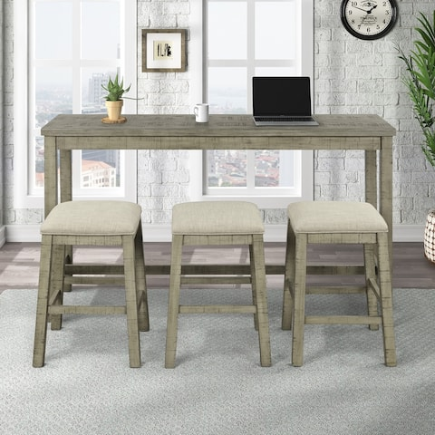 4 Pieces Table with Fabric Padded Stools,Bar Dining Set with Socket