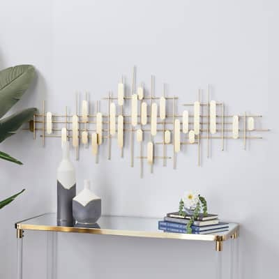 CosmoLiving by Cosmopolitan Gold Metal Contemporary Wall Decor 25 x 58 x 2 - 58 x 2 x 25