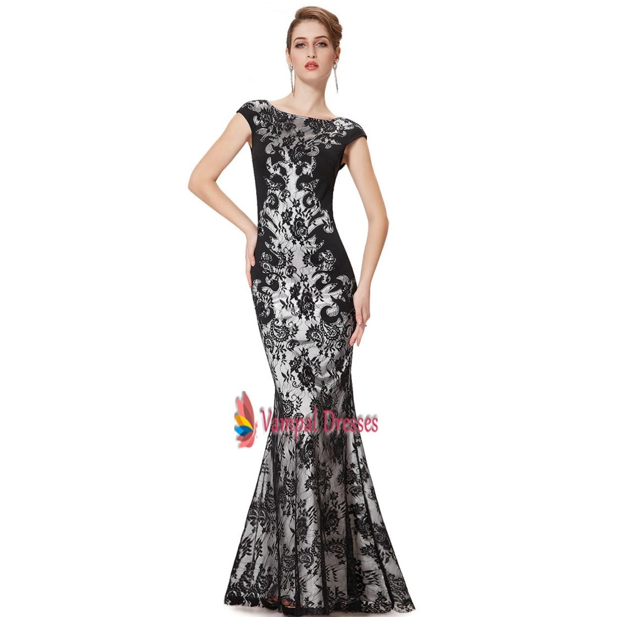 Black Lace Mermaid Prom Dresses 2015,Long