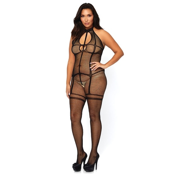 444c85344 Shop Plus Size Illusion Garter Fishnet Bodystocking - Black - XLarge - On  Sale - Free Shipping On Orders Over  45 - Overstock - 27739392