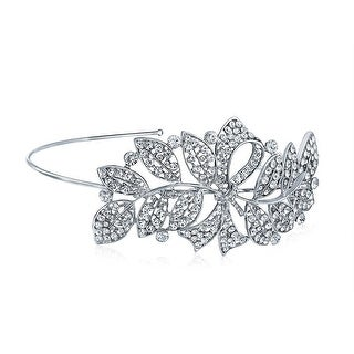 Bow Ribbon Leaves Side Headband Wedding Rhinestone Headpiece Prom