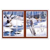 "Pack of 6 Ice Cold Winter Insta-View Holiday Wall Decoration 38"" x 62"""