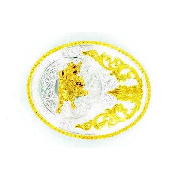 Nocona Western Belt Buckle Oval Bull Rider Silver Gold - 3 1/2 x 4 1/2