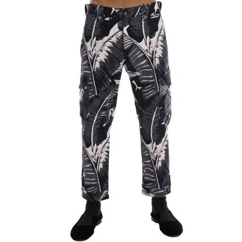 Dolce & Gabbana Gray Banana Leaf Cotton Men's Pants