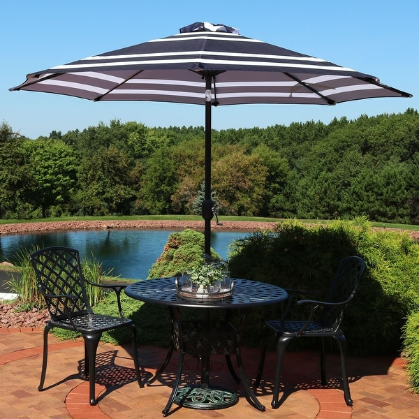 Sunnydaze 9 Foot Patio Umbrella With Push Button Tilt And Crank   Blue  Stripe