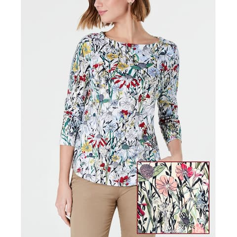 Charter Club Printed Cotton Boat-Neck Top Floral Print Size Extra Small - White - X-Small