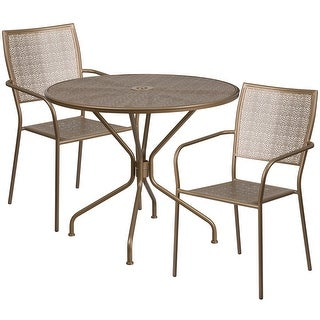 Westbury Round 35.25'' Gold Indoor-Outdoor Steel Table Set w/2 Square Back Chairs for Restaurant/Bar/Pub/Patio