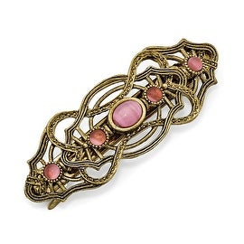 Goldtone Pink Acrylic Stones Hair Barrette