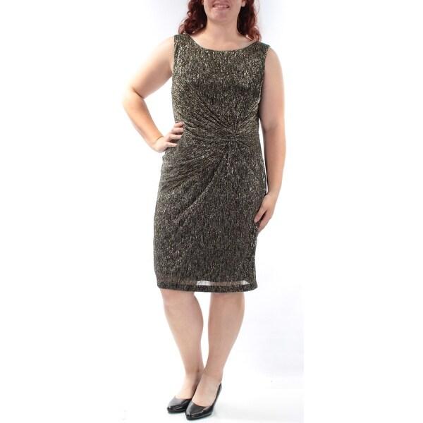 Shop CALVIN KLEIN Womens Gold Sleeveless Jewel Neck Knee Length ...