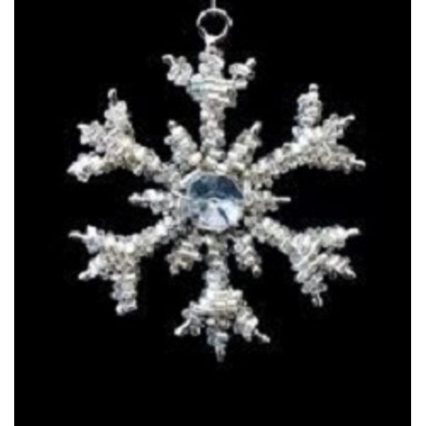 """Set of 4 Gray Crystal and Clear Beaded Mini Snowflake Christmas Ornaments 3"""" - silver"""