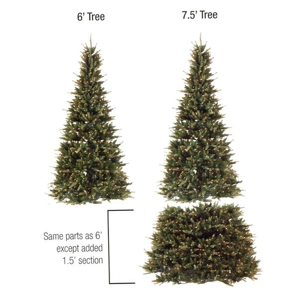 6' - 7.5' Pre-Lit Extend-A-Tree Adjustable Artificial Christmas Tree - Clear Lights - green